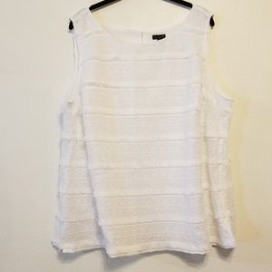 Talbots white Fun Fringe & lace sleeveless top